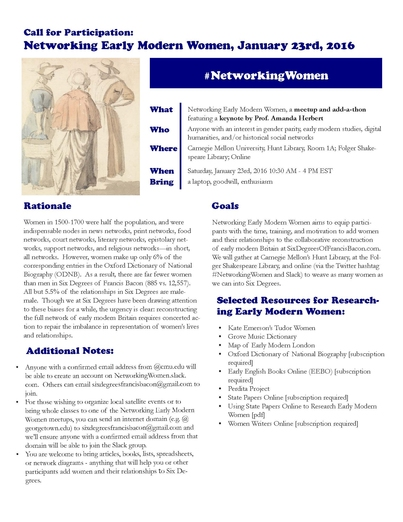 Networking Early Modern Women