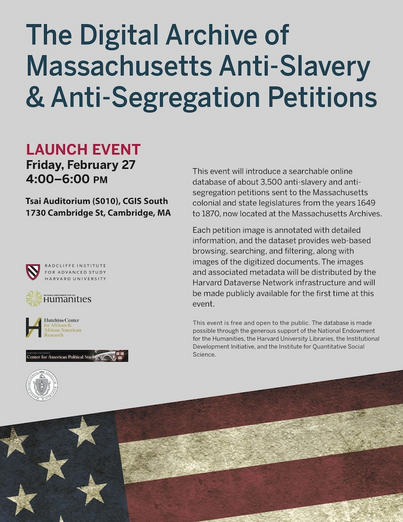 Launch event for Digital Archive of MA Anti-Slavery and Anti-Segregation Petitions