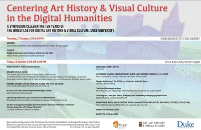 Poster for Centering Art History & Visual Culture in the Digital Humanities. Learn more at sites.duke.edu/centeringdh
