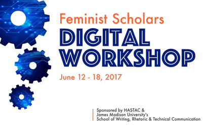 2017 Feminist Scholars Digital Workshop Banner image - gear motif