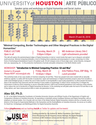 Minimal Computing, Border Technologies and Other Marginal Practices in the Digital Humanities (public lecture)