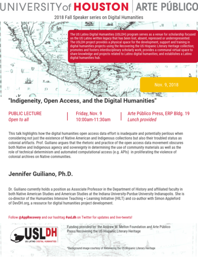 Public lecture: Indigeneity, Open Access, and the Digital Humanities