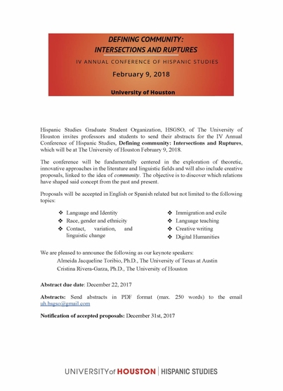 CFP- IV Annual Hispanic Studies Conference, University of Houston