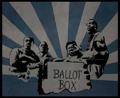 Graphic based on photo: SNCC organizers set up polling station in Greenwood, Mississippi for COFO mock election, October 1, 1963, © 1976, Matt Herron Take Stock Photos.
