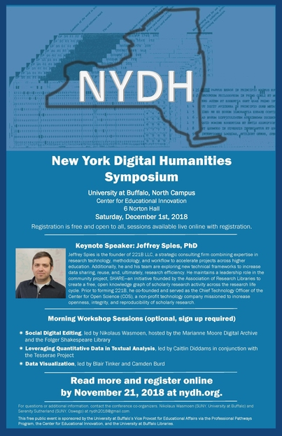 New York Digital Humanities Symposium, December 1, hosted by the University at Buffalo