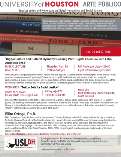Digital Culture and Cultural Hybridity: Reading Print-Digital Literature with Latin American Eyes (public lecture)