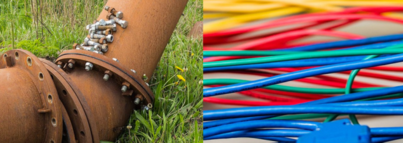 Collage of dismantled transport pipeline and computer cables