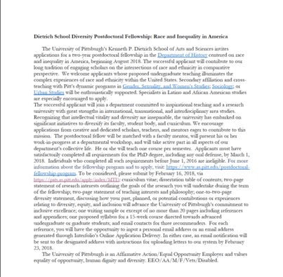 Postdoc Opportunity -- Dietrich School Diversity Postdoctoral Fellowship: Race and Inequality in America