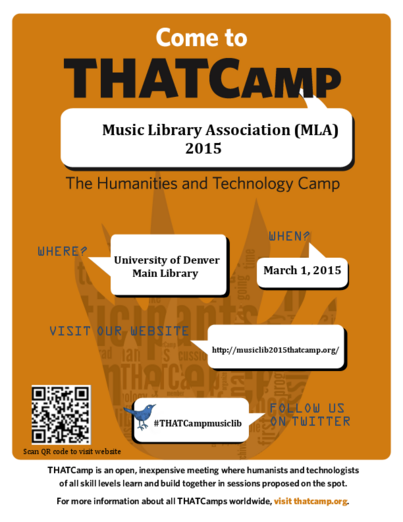 THATCamp Music Library Association (MLA) 2015 in Denver!