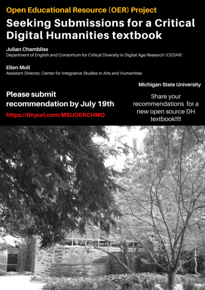 Seeking Digital Humanities Resource for a new Open Education Resource Textbook