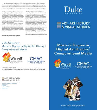 MA in Digital Art History/Computational Media. Find out more at aahvs.duke.edu.