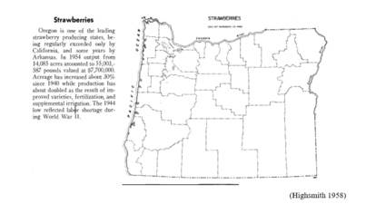 Image: a 1958 atlas map showing the distribution of strawberry farms in Oregon.