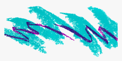 """The """"Jazz"""" Sweetheart cup design, which features a turquoise paintbrush stroke squiggle, and a thin purple brush stroke squiggle in the foreground, against a white background."""