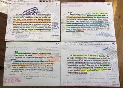 colorful annotated passages/excerpts from a reading