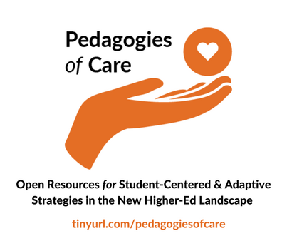 Pedagogies of Care logo with open hand with heart
