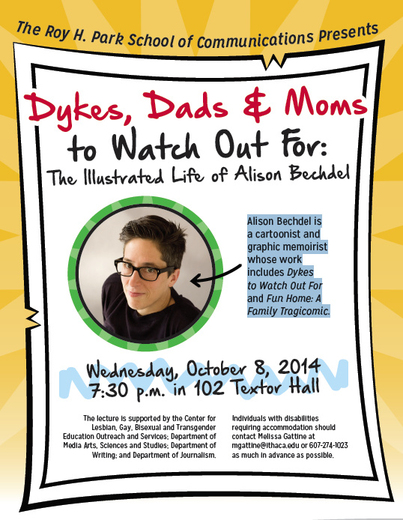 "Alison Bechdel, ""Dykes, Dads, and Moms to Watch Out For,"" Ithaca College 10/8"