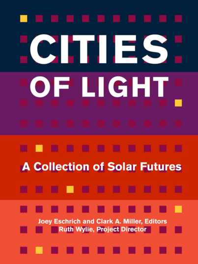 Book cover for Cities of Light, featuring horizontal bars of dark blue, purple, red, and orange, stylized with small squares like the windows on a large apartment building.