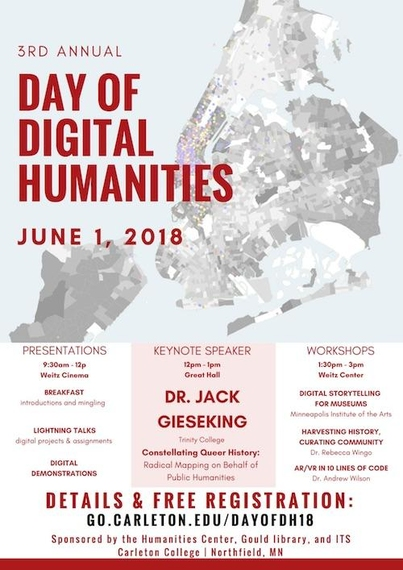 The poster for the 3rd Annual Day of Digital Humanities at Carleton College, held June 1, 2018