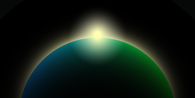 An illustration of the sun rising behind the Earth, seen from space, against a black background.