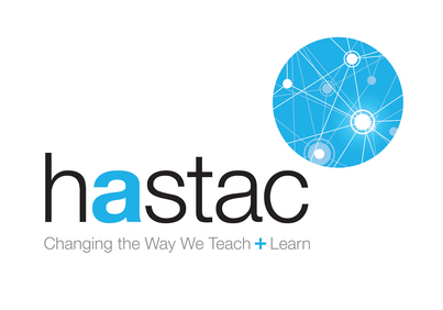 Blue logo with text that reads HASTAC: Changing the Way We Teach + Learn