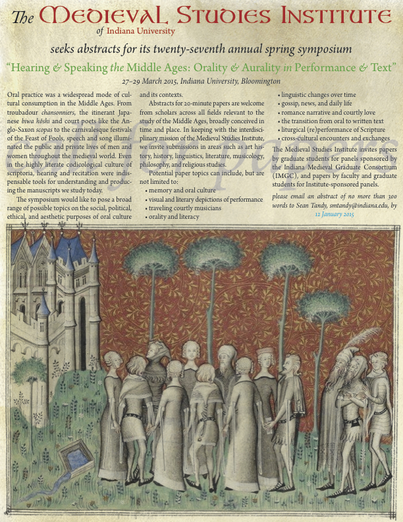 CfP: Hearing and Speaking the Middle Ages: Orality and Aurality in Performance and Text