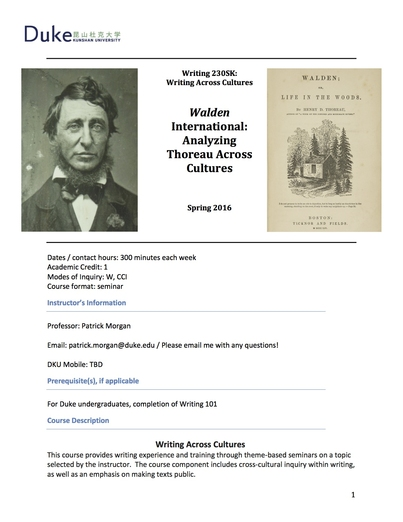 Syllabus: Walden International: Analyzing Thoreau Across Cultures