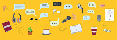 A host of iconic illustrations against a gold background: a coffee cup, a small plant, headphones, a microphone, an iPod, speech bubbles