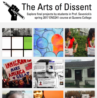 Final Projects from Students in The Arts of Dissent at Queens College