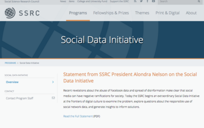 SSRC Works with Facebook To Make Data Available for Ethically Responsible Research