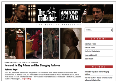 """The Godfather: Anatomy of a Film"" website (""A UC Berkeley Production""), with images of Marlon Brando and Al Pacino on the header, and with an essay on costume design featured"