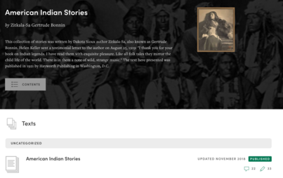 Image of American Indian Stories from Manifold with our recorded public annotations.