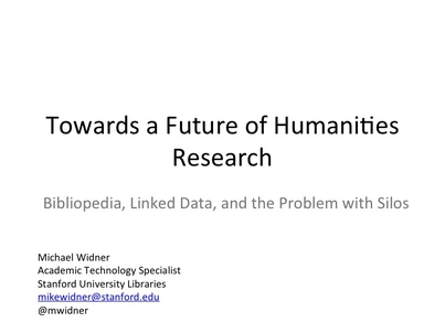 Towards a Future of Humanities Research -- Bibliopedia, Linked Data, and the Problem with Silos