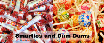 Picture of Smarties and Dum Dums candy.
