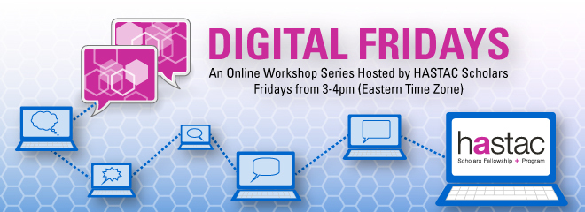 Graphic banner of Digital Fridays showing networked laptops