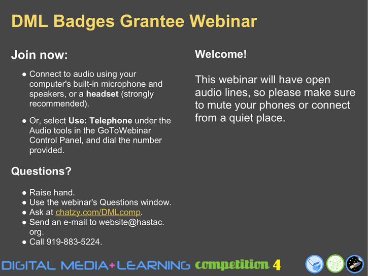 Badges for Lifelong Learning Competition: Grantee Round-Robin Workshop #1