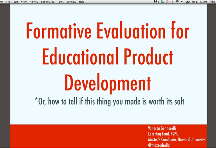 Formative Evaluation for Educational Product Development with Vanessa Gennarelli - DML Badges webinar