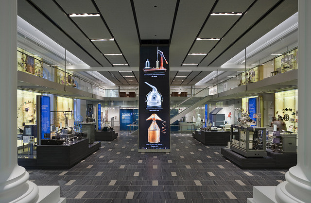 Shot of Chemical Heritage Foundation interior--color, tech-rich museum space.