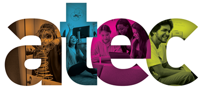 ATEC logo with student photos in the background