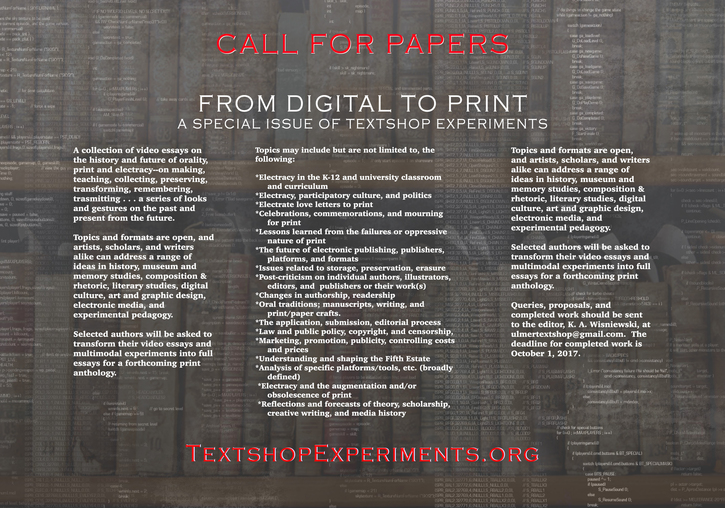 From Digital to Print (Special Issue) -- Textshop Experiments