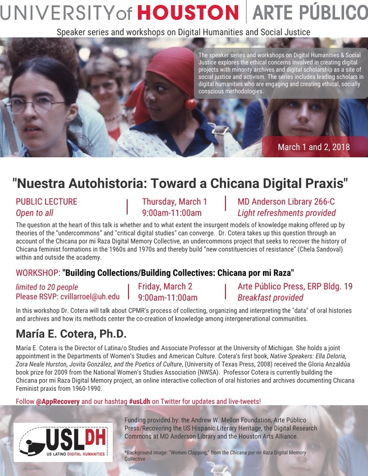 """Nuestra Autohistoria: Toward a Chicana Digital Praxis"" (public lecture)"