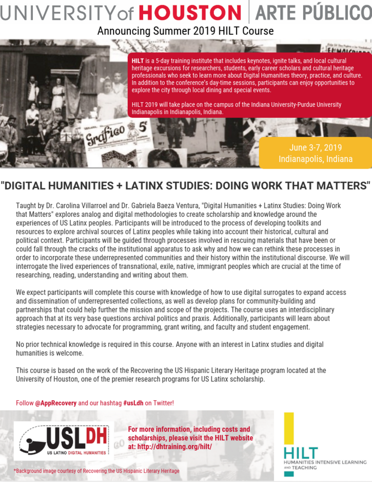 "New HILT course: ""Digital Humanities + US Latinx Studies: Doing Work that Matters"""