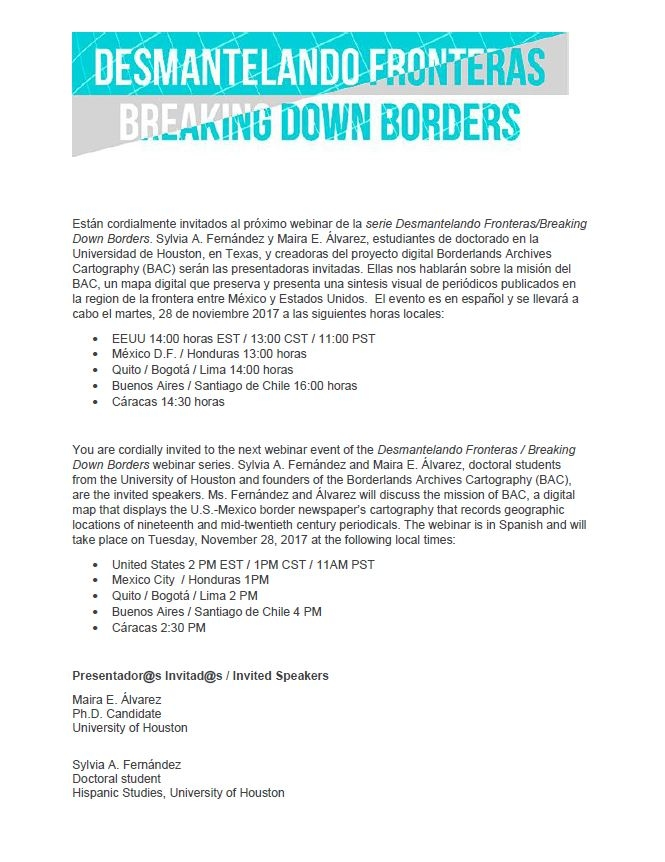 webinar series, Desmantelando Fronteras/Breaking Down Borders