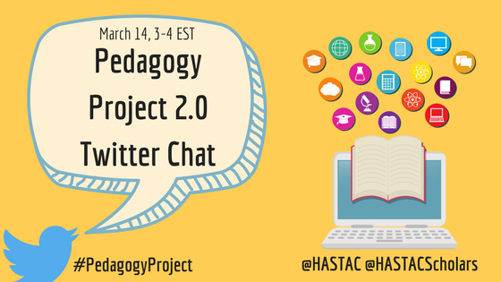 Title:HASTACscholars Pedagogy Project 2.0 Twitter Chat Event Banner. Twitter logo bird calling out the name of the Twitter Chat along side the event's hashtag (#PedagogyProject). Nearby a computer monitor (and keyboard) reveal an open-book dispersing knowledge/learning related icons upwards. The @HASTAC and @HASTACScholars Twitter handles are displayed below the computer's keyboard.