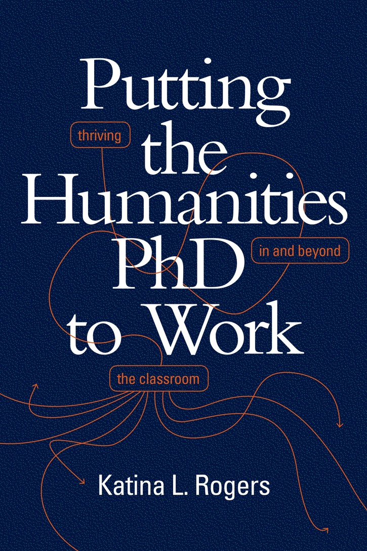 Navy blue book cover with orange accents, Putting the PhD to Work