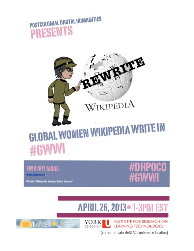 Global Women Wikipedia Write-In #GWWI this Friday at HASTAC 2013!