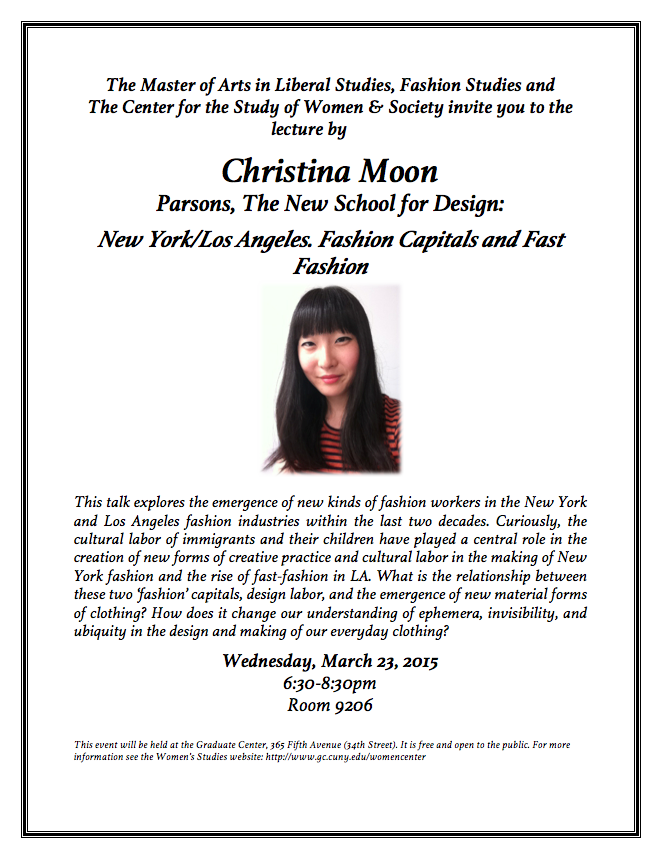 Lecture – Christina Moon March 23rd @ 6:30 The Graduate Center CUNY