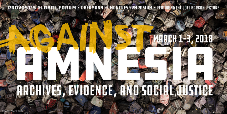 Against Amnesia logo with large text against a background of hundreds of abandoned backpacks, which is an image from an exhibit by Jason De León of migrant backpacks salvaged from Arizona's arid southern border
