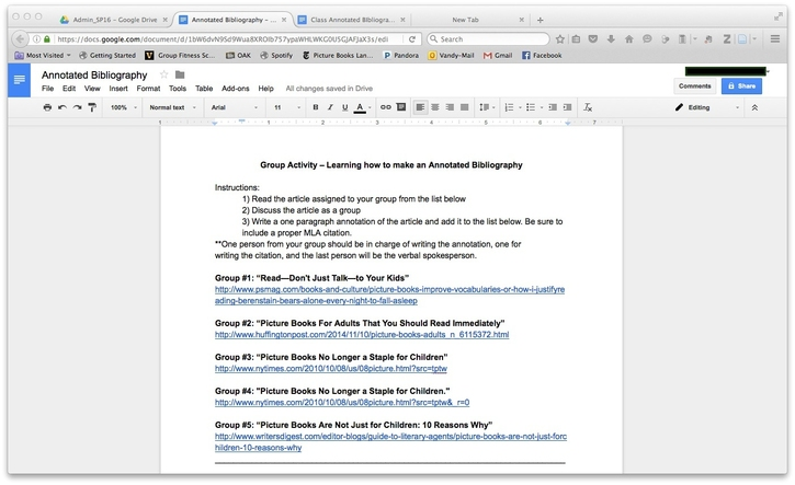This is a screen shot of the instructions for this activity as they appear in a Google Doc.