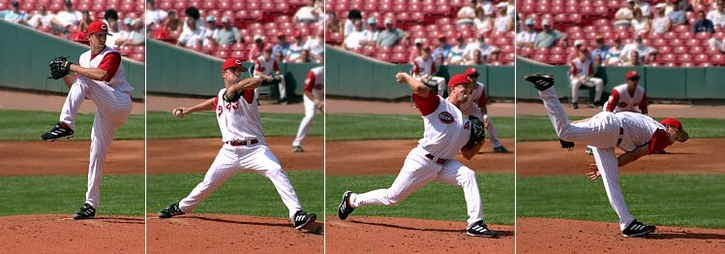 Time lapse series of a baseball pitcher pitching.