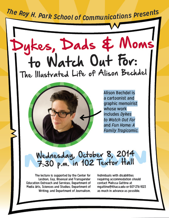 """Alison Bechdel, """"Dykes, Dads, and Moms to Watch Out For,"""" Ithaca College 10/8"""